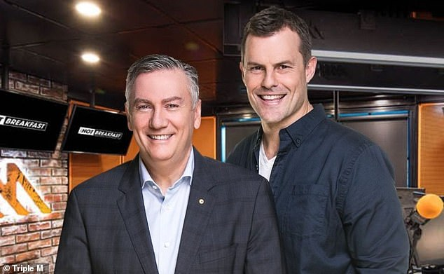 Two losses: Eddie also revealed that his co-host Luke Darcy (right) - who is leaving the program too - had experienced a similar loss when his father, David Darcy, died that same month