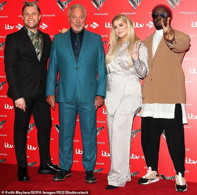 This year's judging line-up features Olly alongside singer Meghan Trainor, as well as the show's judging mainstays, music legend Tom Jones and Black Eyed Peas front man will.i.am