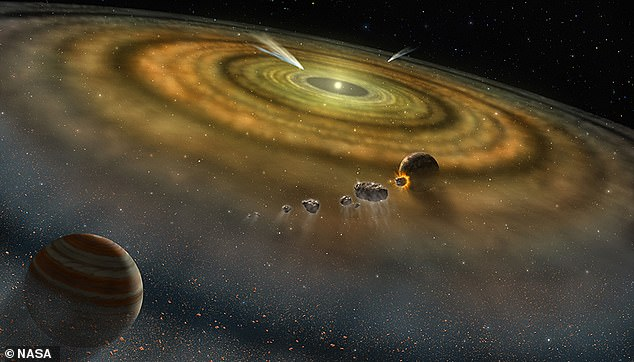 Artist's conception of the dust and gas surrounding a newly formed planetary system. Scientists at the Lawrence Livermore National Laboratory believe the Sun and the rest of our solar system were created in less than 200,000 years.