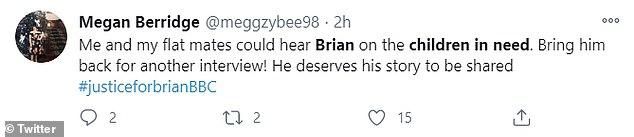 Backlash: les fans étaient mécontents de Mel pour avoir interrompu Brian et se sont tournés vers Twitter pour partager leur consternation avec la BBC et Children In Need pour l'accident
