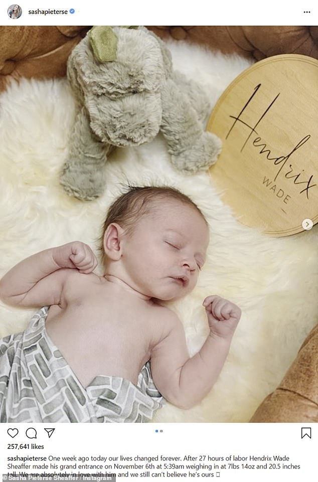 Pretty Little Liars star Sasha Pieterse welcomes firstborn son Hendrix with husband Hudson Sheaffer