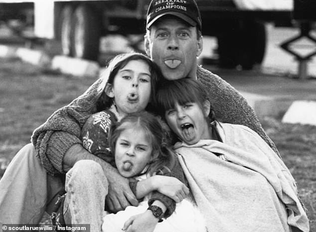 Family matters: Scout is the middle sister to Rumer, 32, and Tallulah, 26; they are pictured in a throwback snap with their father Bruce Willis