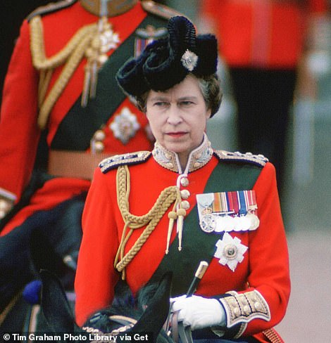 Iconic: The Queen is pictured in 1979 attending the Trooping of the Colour cermeony