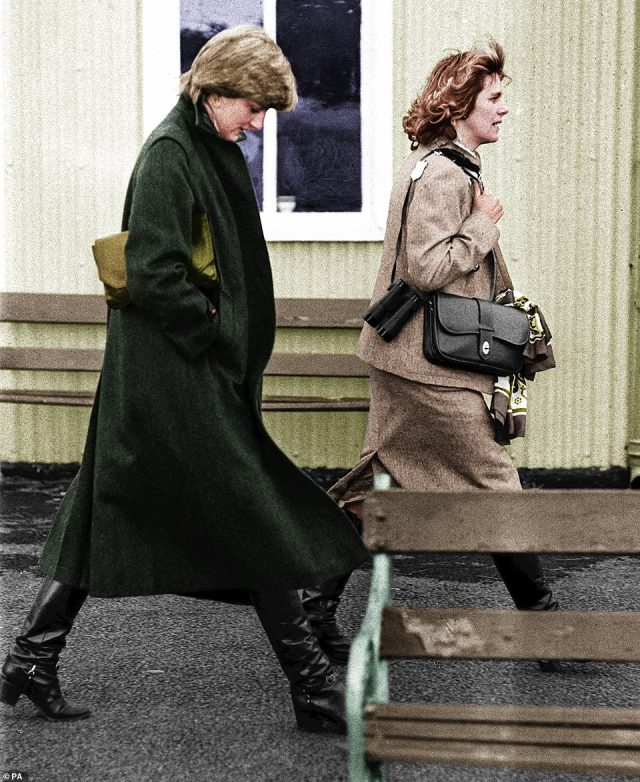 Iconic: Diana and Camilla are pictured together at Ludlow racecourse in August 1997