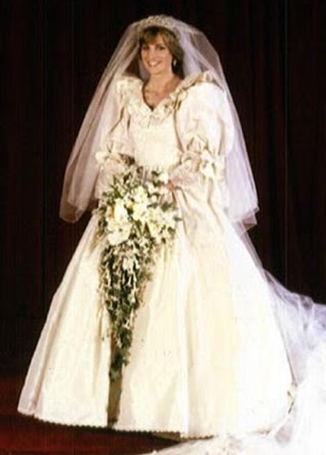 Incredible: The stunning white gown was designed by David Emanuel and boasted a 25ft train (pictured during Diana's wedding in 1981)