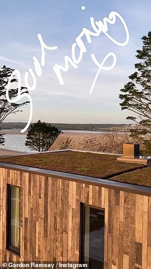 Breathtaking:The media personality posted the image on his Instagram Stories alongside a video he took of the view across the bay while stood outside the flash pad.