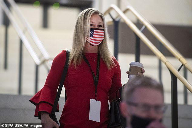 Greene was seen leaving the Capitol wearing a mask, which is required in all House areas with some exceptions