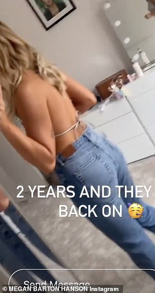 Wow: The back of Megan's top revealed the entirety of her back