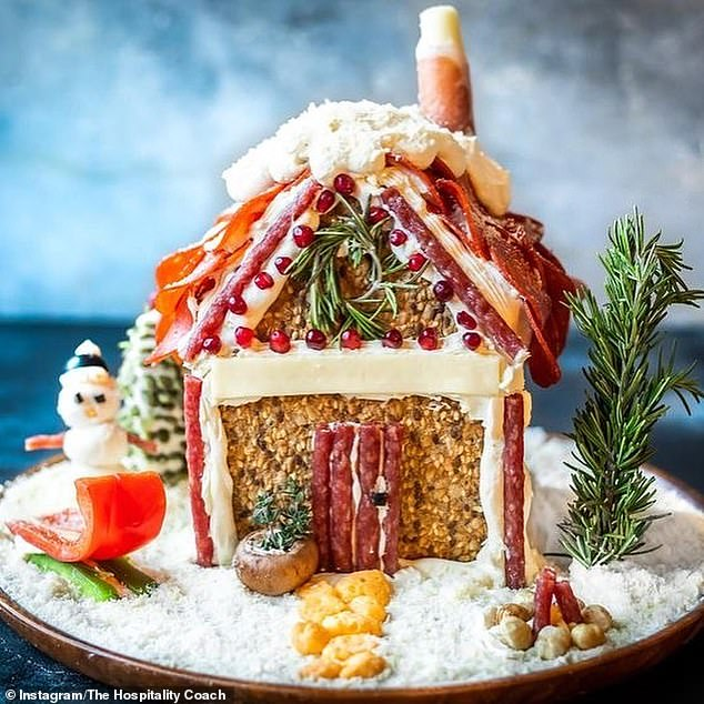 Meat lovers have taken their skills up a notch to create lavish charcuterie chalets, complete with pepperoni tiles, pretzel windows and a roof made from slices of salami (pictured)