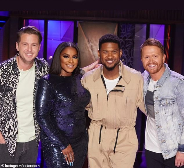 'Do whatever it takes to have product, songwriting is just as much as any other business. Without product, there's not a proof of concept': Ester, who has written tracks for Usher (center right), said aspiring songwriters need to be tenacious and resourceful