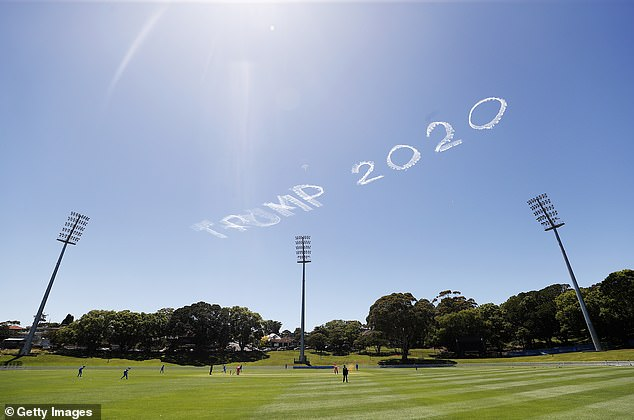 Residents were left scratching their heads as the message appeared over Sydney on Sunday