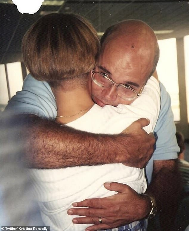 Former NSW Premier Kristina Keneally (pictured with her father) has revealed her Vietnam war veteran father died in a touching tribute posted to social media on Sunday afternoon
