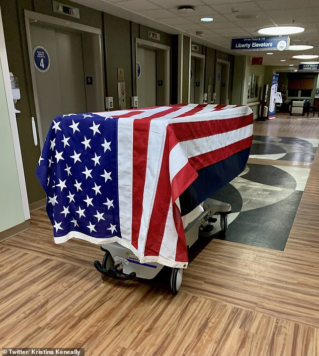 Ms Keneally said she would be unable to attend her father John Kerscher's funeral in Ohio due to border restrictions (casket pictured above) and shared her 'love to all families separated'