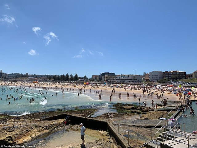 Waverley Council posted this photo of a packed Bondi Beach on Sunday