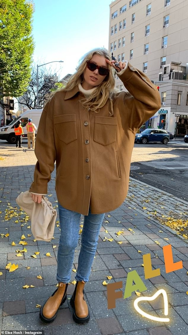 Fall into Autumn: Elsa showed off her fall color palette in another social media pic