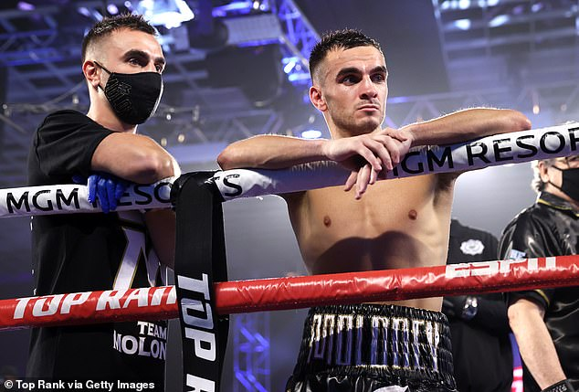 Officials have denied Andrew Moloney (pictured right with twin brother Jason) of the WBA super flyweight boxing title