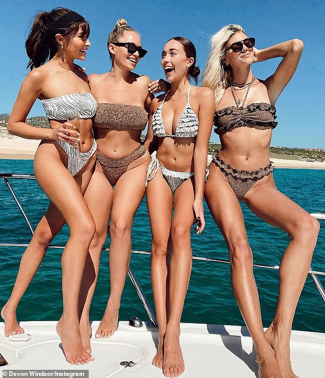 Fantastic four: Devon recently returned from a vacation to Mexico with pals Olivia Culpo, Olivia's sister Sophia, and influencer Kristen Louelle (pictured)