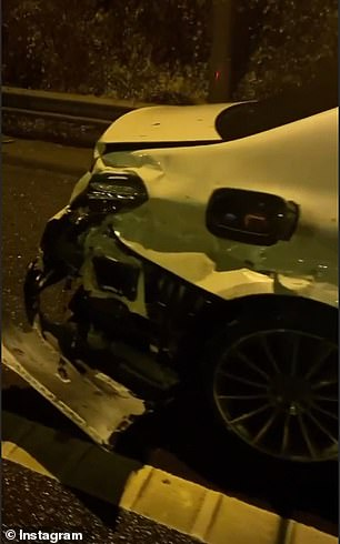 Amir Khan has crashed his £90,000 Mercedes after his lost control of it in wet weather on the M6 and smashed into the central barrier
