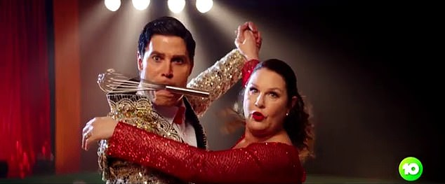 Local flavour:Dr Chris Brown and Julia Morris have dressed up as a whole host of popular Australian movie characters in a new promotional video for I'm A Celebrity…Get Me Out Of Here! Both pictured recreating a scene from Strictly Ballroom
