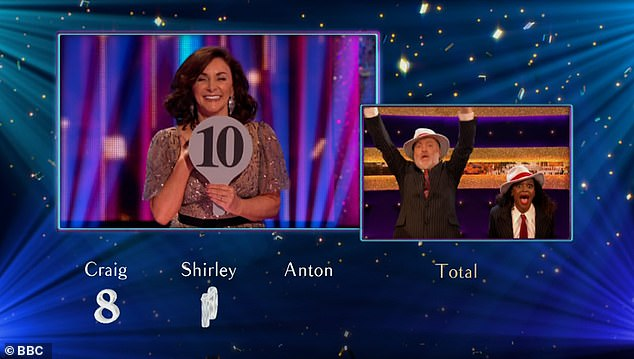 Amusing:After getting their score of 27 points, Bill and Oti hugged each other in delight and then showed off their comedic chops as they collapsed to the floor dramatically
