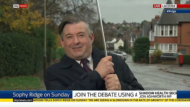 Shadow health secretary John Ashworth battled the elements as he spoke live on Sophie Ridge on Sunday from his Leicester constituency