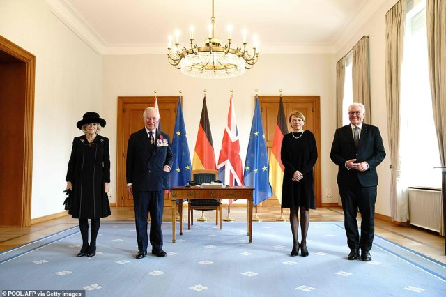 Prince Charles and Camilla, Duchess of Cornwall pose for a picture next to German President Frank-Walter Steinmeier and his wife Elke Buedenbender prior a meeting at the presidential Bellevue palace in Berlin