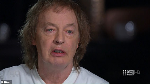 'The hardest part was not so much him passing': An emotional Angus Young, 65, of legendary Australian rock band AC/DC, said on Sunday's Australian 60 Minutes (pictured) that watching the decline of his late brother Malcolm Young from dementia was the 'worst'