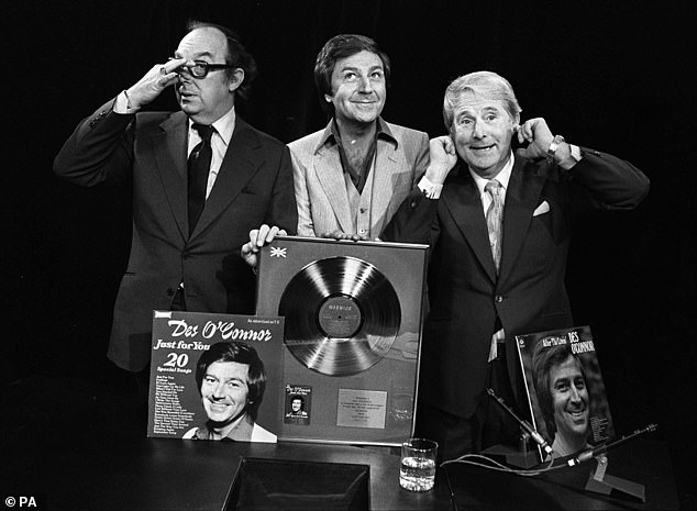 Des O'Connor (centre) with Eric Morecambe (left) and Ernie Wise (right), March 1999