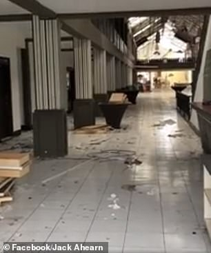 'This video is one of many hotels that are done and all trashed like this. It's very sad,' Mr Ahearn captioned the post