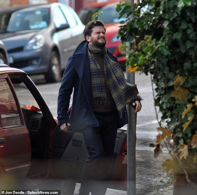 Pained: Kit Harington looked anguished as he filmed for the second series of Amazon's romcom TV show Modern Love in Dublin on Sunday