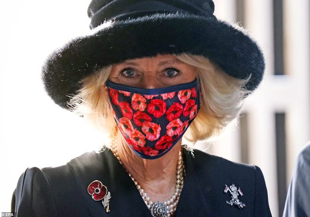 The Duchess of Cornwall wore a poppy-themed face mask while visiting the Neue Wache memorial to victims of war and tyranny