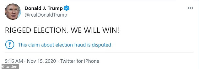 Trump reiterated in a short tweet that the election was 'rigged' and said he will emerge victorious