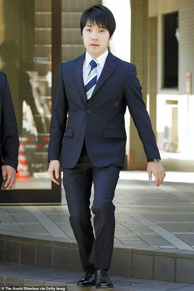 The couple met while both were students at Tokyo's International Christian University. Komuro (pictured in 2017) proposed over dinner in December 2013