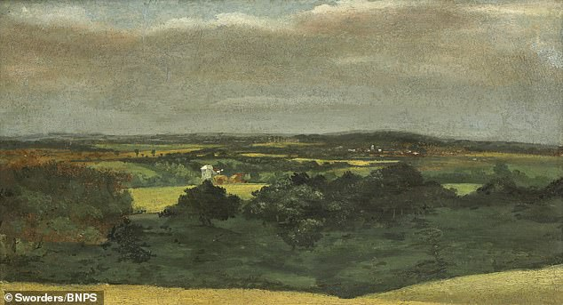 The previously unrecorded landscape painting from circa 1809, includes a windmill in Brantham owned by his father, and shows idyllic 'Constable country' on the Essex-Sussex border