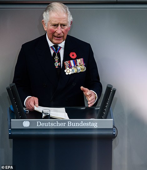 Prince Charles gives a speech during the memorial ceremony at the German parliament Bundestag
