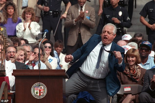 Lasorda, seen dancing for fans in 1988, retired from managing the team in 1996