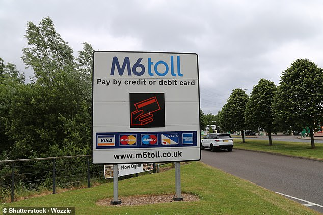 A similar type of scheme, involving the use of satellite tracked tags or roadside beacons, was dramatically shelved by Labour in 2007 amid uproar that drivers could be charged up to £1.50 a mile. Pictured: A sign for the M6 Toll in the midlands