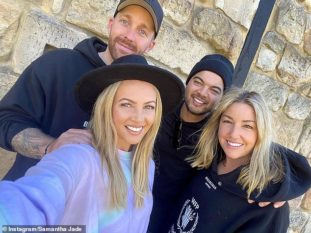 Couples that holiday together! Samantha and her fiancé Pat Handlin (top left) recently enjoyed a Hunter Valley retreat with Guy Sebastian (top right) and his wife Jules