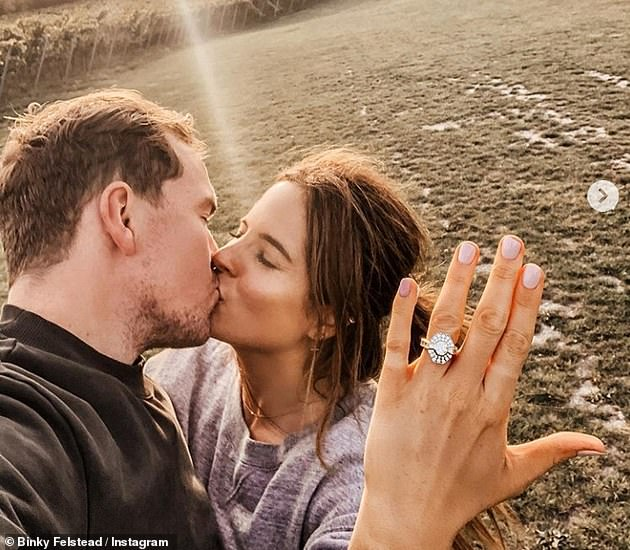 New chapter: Binky announced she was engaged to Max after 19 months of dating and shared a picture kissing the businessman while holding up her hand to show off the sparkling diamond