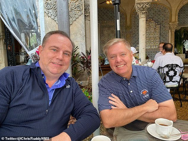 Ruddy (shown with Lindsey Graham at Mar-A-Lago) told Variety that he is not 'actively' looking to sell the company, but said a number of 'investors, investment banks and strategic players' had all expressed interest in buying it