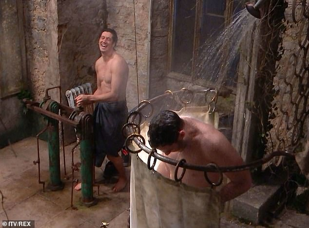 I'm A Celebrity 2020: Jordan North and Vernon Kay laugh and joke as they help each other shower