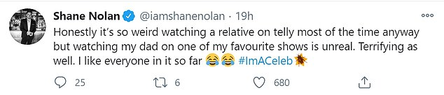 Excitement: In another tweet, Shane admitted it's 'unreal' to watch his father taking part on his favourite TV show