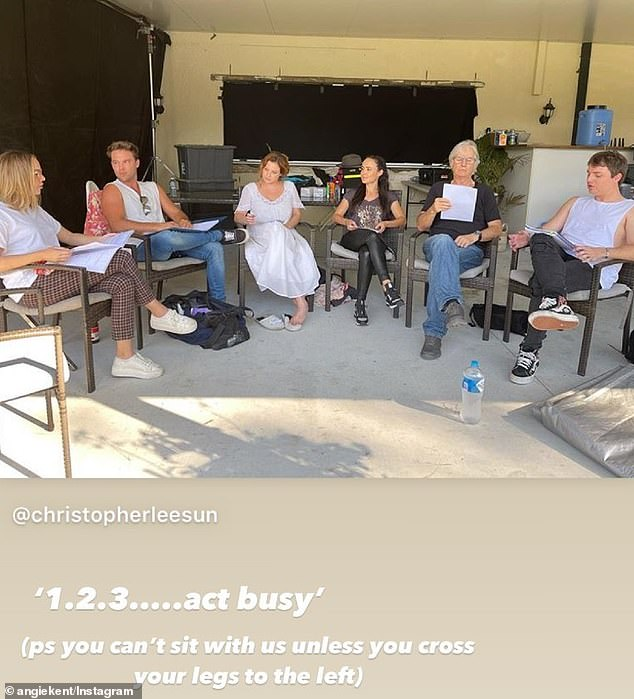 Behind-the-scenes: Angie (left) has been updating her fans on Instagram of her time on set alongside Home and Away's Lincoln Lewis, Romy, actress Lauren Grimson, Wolf Creek's John Jarrett and Instagram star Jade Kevin Foster (all pictured)