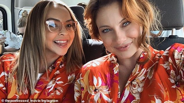 Twinning: Taking to Instagram this week, Angie Kent (left) shared a behind-the-scenes glimpse from the set of The Possessed alongside co-star Romy Poulier (right), an ex-Bachelor hopeful