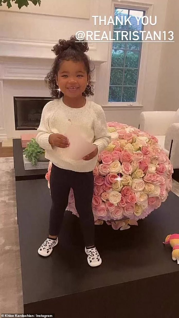 Special delivery:Khloe Kardashian received a stunning arrangement of roses from her on-and-off beau Tristan Thompson, 29, in honor of her big People's Choice Awards win