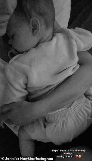 Proud mum: On Tuesday, Jennifer Hawkins shared a gorgeous picture of her daughter, Frankie Violet, taking a nap on her chest