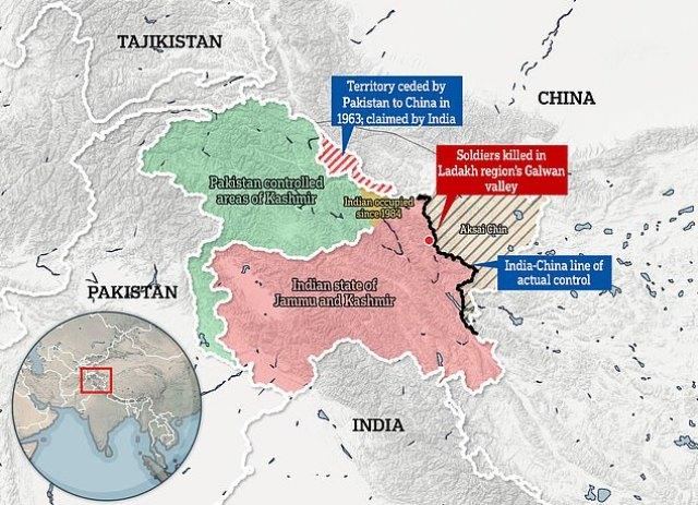Sporny obszar przygraniczny między Indiami a Chinami, gdzie co najmniej 20 żołnierzy zginęło w bójce na dużej wysokości na początku tego roku