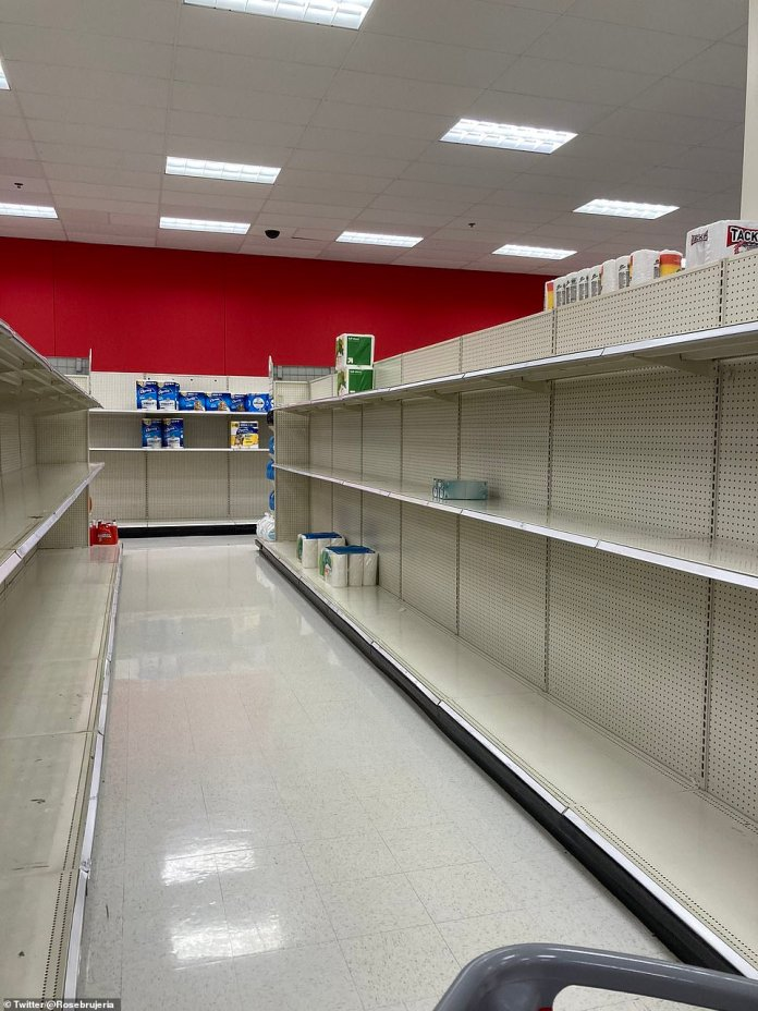 Target, Portland, Oregon: The scenes in this grocery story over the weekend are eerily similar to earlier this year grocers were forced to limit purchases of products like Purell sanitizers, Lysol cleaning spray and canned soup