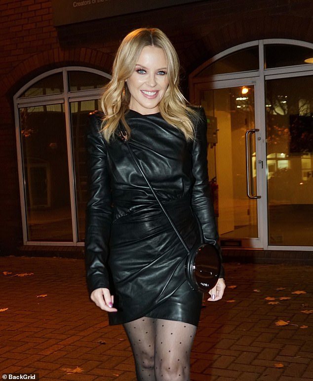Wow: The pop icon, 52, showed off her petite figure and supple legs in a gorgeous leather mini dress as she strutted