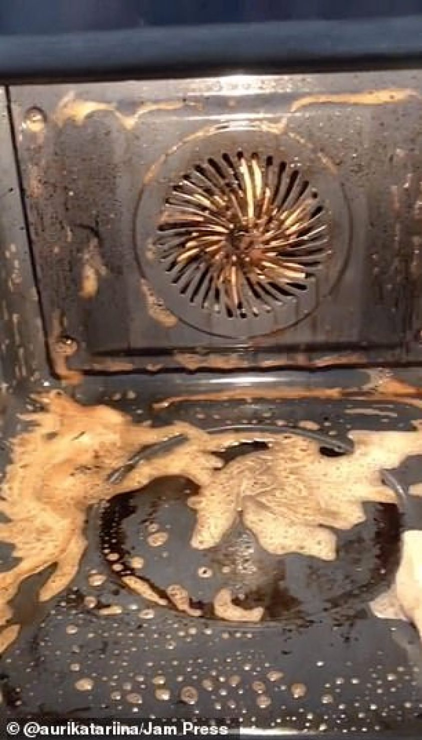 Another tough cleaning project was this oven